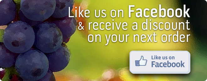 Like us on Facebook and receive a discount with your next order